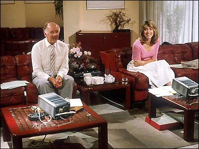 Presenters Frank Bough and Selina Scott in the Breakfast Time studio
