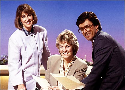 Kirsty Wark, Jill Dando and John Stapleton pictured in 1988