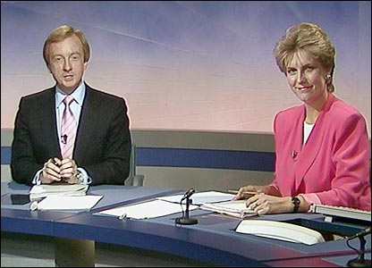 Nicholas Witchell and Jill Dando present Breakfast News in 1989