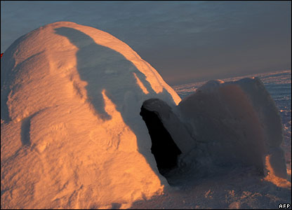 An igloo toilet facility at the glacial runway