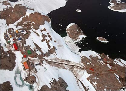 An aerial view of the Australian Antarctic research base at Casey
