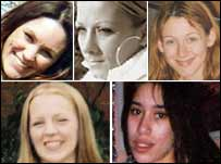 The victims, clockwise from top, Annette Nicholls, Anneli Alderton, Paula Clennell, Gemma Adams and Tania Nicol