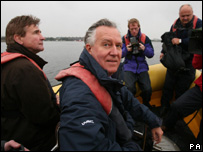 Peter Hain on a visit to the site of the Severn Barrage