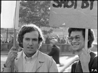 A young Peter Hain (left) on an anti-apartheid demonstration