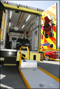 The ambulance's specialist lifting equipment