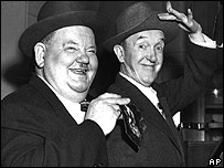 Oliver Hardy (L) and Stan Laurel (R)