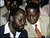 The ODM's Anyang N'yongo (left) and Raila Odinga at a news conference on 11 January