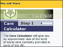 Screenshot of the Care Calculator