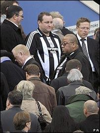 Mike Ashley watches the team he owns from the stands