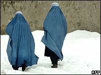 Two women in the snow in Kabul