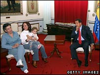 Venezuelan President Hugo Chavez with freed hostage Consuelo Gonzalez (left)