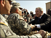 President Bush meets troops in Kuwait
