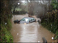 A trapped car near Winford, pic by Geoffrey George