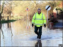 Floodwater in Upton upon Severn