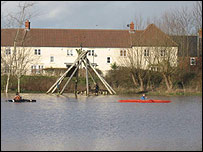 Flooding at Congresbury's Millennium Green