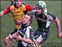 London Irish hat-trick hero Richard Thorpe (front) keeps his eye on the ball