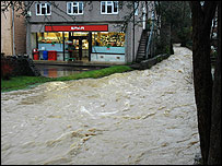 Flooding in Nunney, Somerset, on Friday, pic by Richard Blunden Leigh