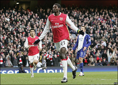 Emmanuel Adebayor's penalty gives the Gunners the lead