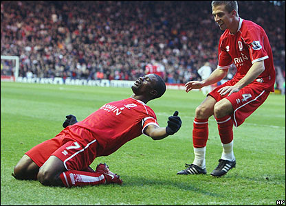 George Boateng celebrates his goal against Liverpool