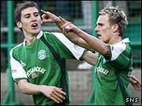Dean Shiels (right) celebrates with team-mate Paul Hanlon