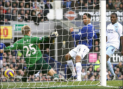Everton's Mikel Arteta's cross is turned in by Joleon Lescott