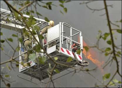 Firefighters tackle a blaze in Calcutta