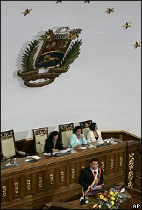 Presidente de Venezuela, Hugo Chávez en la Asamblea Nacional.