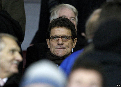 England manager Fabio Capello watches the match at Old Trafford
