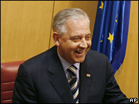 Ivo Sanader smiles at a parliamentary session in Zagreb on 12 January 2008