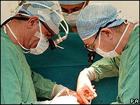 Surgeons during an operation