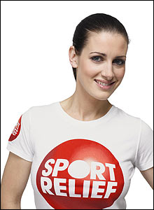 Kirsty Gallagher smiles in a Sport Relief tee-shirt
