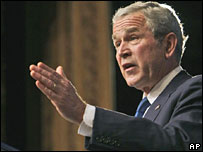 US President George W Bush speaks in Abu Dhabi