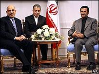 Iranian President Mahmoud Ahmadinejad meets IAEA chief Mohamed ElBaradei.