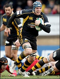 Wasps blind-side James Haskell races through the non-existent Scarlets defence