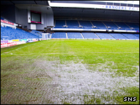 The Ibrox pitch was waterlogged