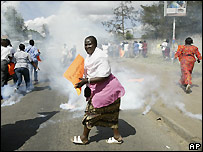 Opposition supporters are tear gasses trying to approach central Nairobi - 10 January 2008