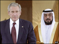 US President George W Bush with United Arab Emirates President Sheikh Khalifa bin Zayed