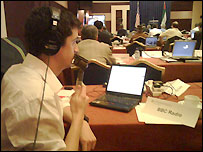 The BBC's Matthew Price files a radio despatch from the press centre in Abu Dhabi - 13/1/2008