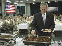 President Bush at Naval Support Activity Bahrain