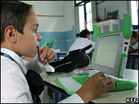 Uruguayan schoolboy using XO laptop, AFP