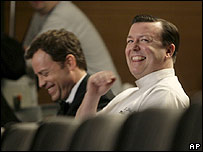 Ricky Gervais and co-star Greg Kinnear on the film set of Ghost Town