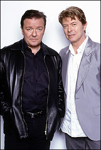 Ricky Gervais and David Bowie in an episode of Extras