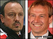 Liverpool boss Rafael Benitez (left) and Jurgen Klinsmann