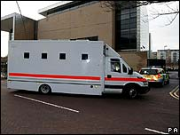 Prison van arrives at Ipswich Crown Court
