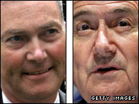 Premier League boss Richard Scudamore and Fifa president Sepp Blatter