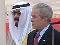 King Abdullah of Saudi Arabia with George W Bush - 14-1-08