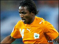 Bakary Kone in action for Ivory Coast