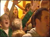 Pub-goers celebrate