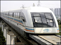 A maglev train in Shanghai, China