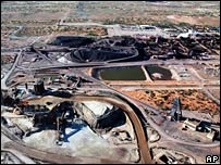 Aerial view of the Olympic Dam uranium mine north of Adelaide, Australia (file photo released by BHP Billiton LTD)